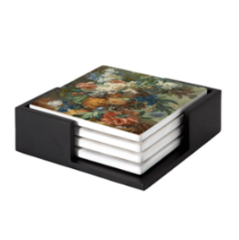 Still Life with Flowers reproduction Jan van Huysum on coasters