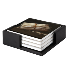 Still life with asperges on ceramic coasters