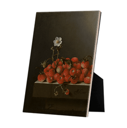 Still life with wild strawberries on ceramic tile with the easelback