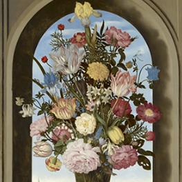 Vaas met bloemen in een venster op canvas