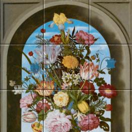 Vaas met bloemen in een venster op tegeltableau