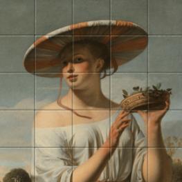Meisje met een brede hoed op tegeltableau