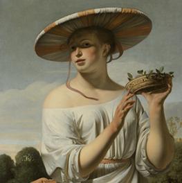 Meisje met een brede hoed op canvas