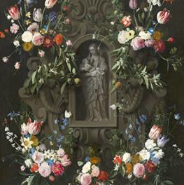 Bloemencartouche met Mariabeeld op tegeltableau