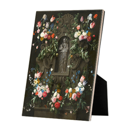 Bloemencartouche met Mariabeeld op keramische tegel op standaard