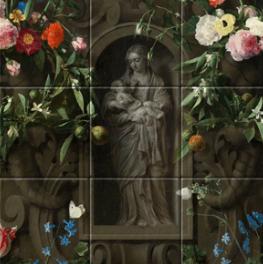 Bloemencartouche met Mariabeeld op canvas