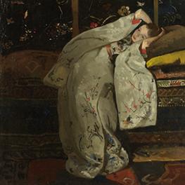 Meisje in witte kimono op canvas