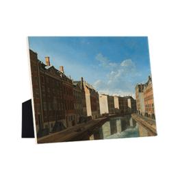Gezicht op de Gouden Bocht in de Herengracht op keramische tegel op standaard