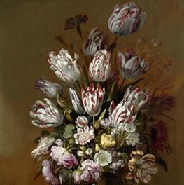 Stilleven met bloemen op canvas