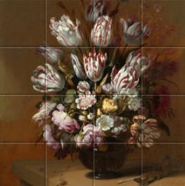 Stilleven met bloemen op tegeltableau