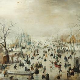 Winterlandschap met schaatsers op canvas