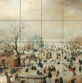 Winterlandschap met schaatsers op tegeltableau