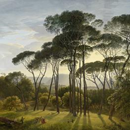 Italiaans landschap met parasoldennen op canvas
