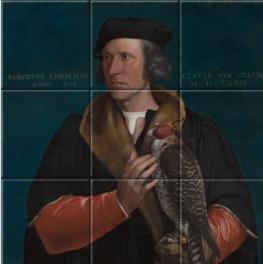 Portret van Robert Cheseman op tegeltableau