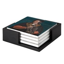 Portret van Robert Cheseman op keramische onderzetters