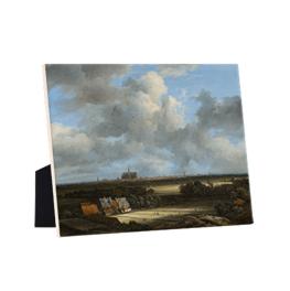 Gezicht Op Haarlem met Bleekvelden op keramische tegel op standaard
