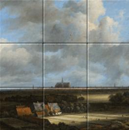 Gezicht Op Haarlem met Bleekvelden op tegeltableau