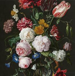 Stilleven met bloemen in een glazen vaas op canvas
