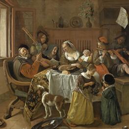 Het vrolijke huisgezin op canvas