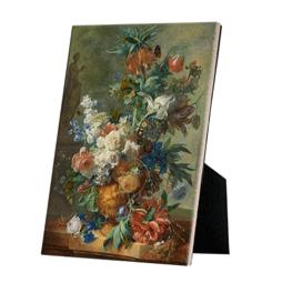 Stilleven met bloemen reproduktie Jan van Huysum op canvas