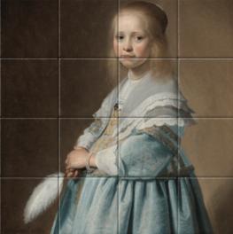 Portret van een meisje in het blauw op tegeltableau