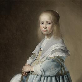 Portret van een meisje in het blauw op canvas