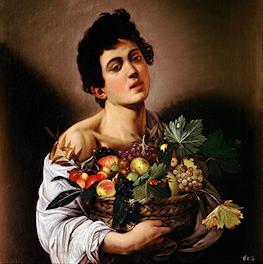 Jongen met fruitmand