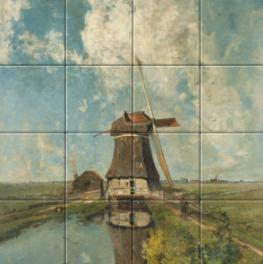Een molen aan een poldervaart op tegeltableau