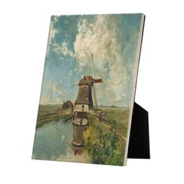 Een molen aan een poldervaart op keramische tegel op standaard