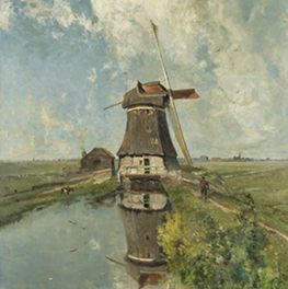 Een molen aan een poldervaart op canvas
