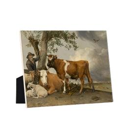 De stier op keramische tegel op standaard