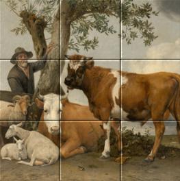 De stier op tegeltableau