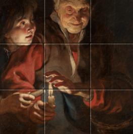 Oude vrouw en jongen met kaarsen op tegeltableau