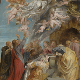 Modello voor de hemelvaart van Maria op canvas