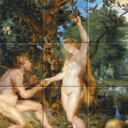 Het aardse paradijs met de zondeval van Adam en Eva op tegeltableau