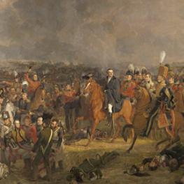 De slag bij Waterloo op canvas