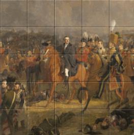 De slag bij Waterloo op tegeltableau
