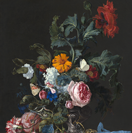 Flower Still Life with a Timepiece on canvas