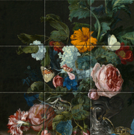 Flower Still Life with a Timepiece on tiletableau