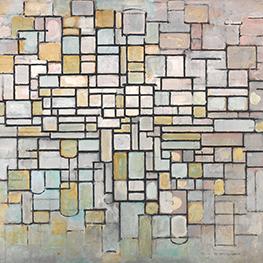 De slaapkamer door Piet Mondriaan reproduktie op tegel tablau
