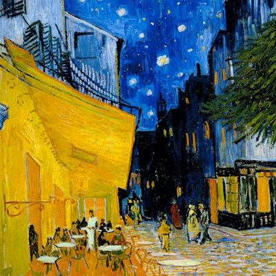 Caféterras bij nacht door Vincent van Gogh reproduktie op canvas
