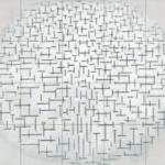 Compositie 10 in zwart wit tegeltableau