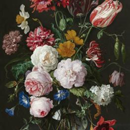 Vaas met bloemen reproduktie Jan Davidsz. de Heem op tegeltablau