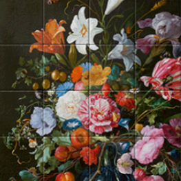 Vase of Flowers reproduktie Jan Davidsz. de Heem on tiletablau