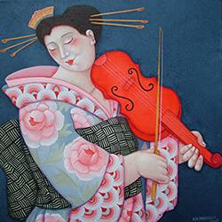 De rode viool op canvas