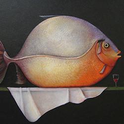 Grote vis op canvas