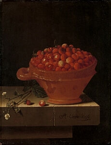 Image of our reproduction of A Bowl of Strawberries on a Stone Plinth by Adriaen Coorte on canvas, small