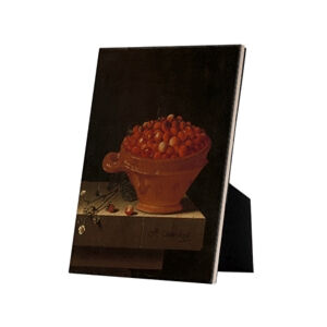 Image of our reproduction of A Bowl of Strawberries on a Stone Plinth by Adriaen Coorte on ceramic tiles with easelback, small