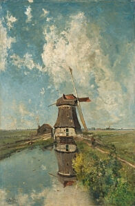 Image of our reproduction of A Windmill on a Polder Waterway by Paul Joseph Constantin Gabriel on canvas, small