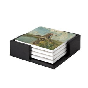 Image of our reproduction of A Windmill on a Polder Waterway by Paul Joseph Constantin Gabriel on ceramic coaster sets, small